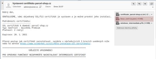 Vyberte súbor linux_cert+ca.pem
